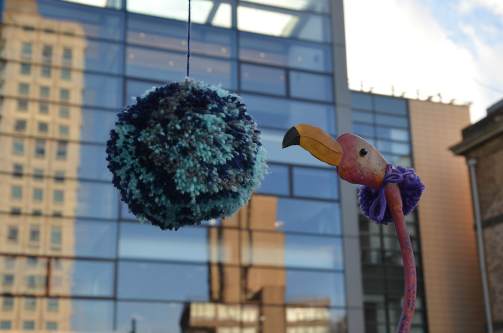 Knitting Queens Road Leicester : Yarn bomb makeover for leicester campus university business