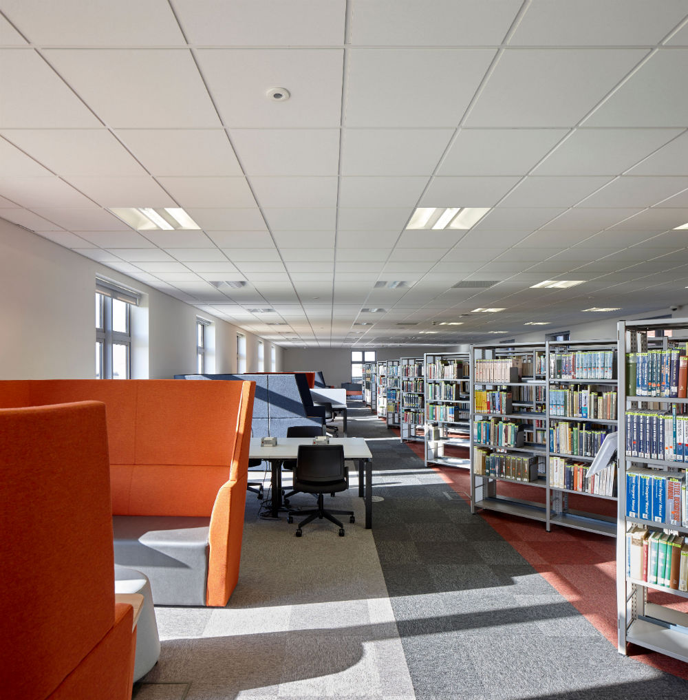 Knauf amf provide class a sound solutions for swansea building 4 the tiles offer outstanding class a sound absorption to help maintain a comfortable level of ambient sound enabling students to concentrate dailygadgetfo Choice Image